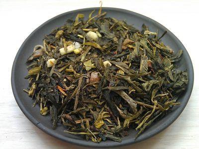 внешний вид зеленого чая с добавками