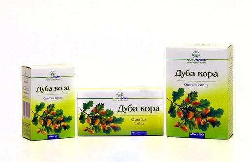 Аптечные упаковки коры дуба
